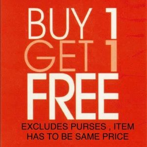 B1G1 FREE! Excludes purses